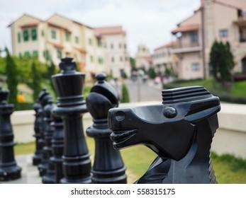 big chess in italian style town