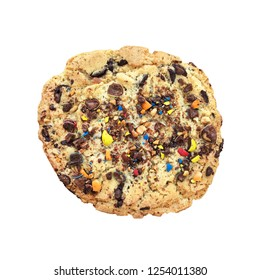 Big chocolate chip cookie isolated on white background