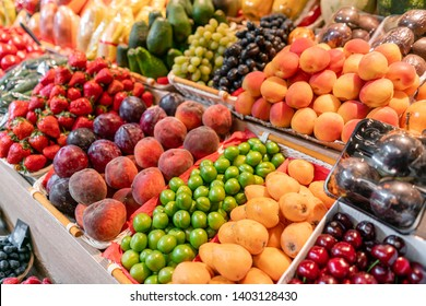 big choice of fresh Fruit and vegetable market. Various colorful fresh fruits and vegetables. Fresh and organic vegetables at farmers market