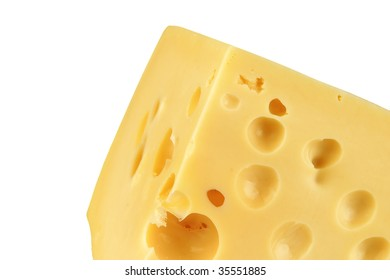 big chunk of yellow cheese over white