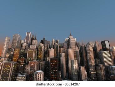 big city with a blue sky