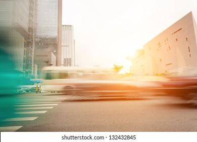 Big city car drove past