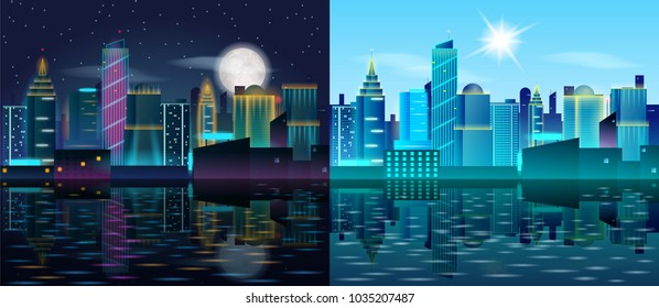 Big city day and night landscape. Skyscrapers in neon lights. Sunny day and night with full moon. Buildings reflection in the water. illustration of metropolis