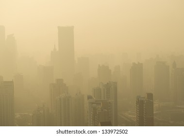 Big city in the fog, shanghai.
