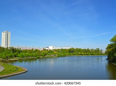 Big City pond and park of  Victory in Zelenograd, Russia