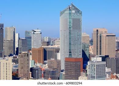 Big city skyline - office buildings of Tokyo, Japan. Toranomon business district of Minato ward.