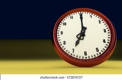 big clock deadline rush time seven o'clock 3D illustration