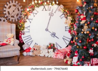 big clock near Christmas tree