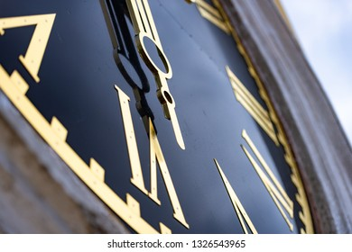 Big clock on church tower in Russia. Detailed and close view of clockface