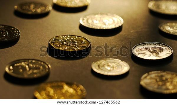 Big Close Up of Singapore Dollar Coins.