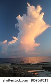a big cloud over the ocean
