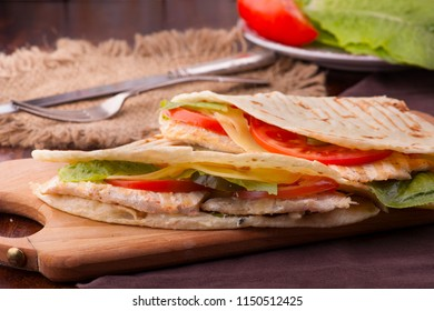 big club sandwiches with vegetables greenery cheese and meet