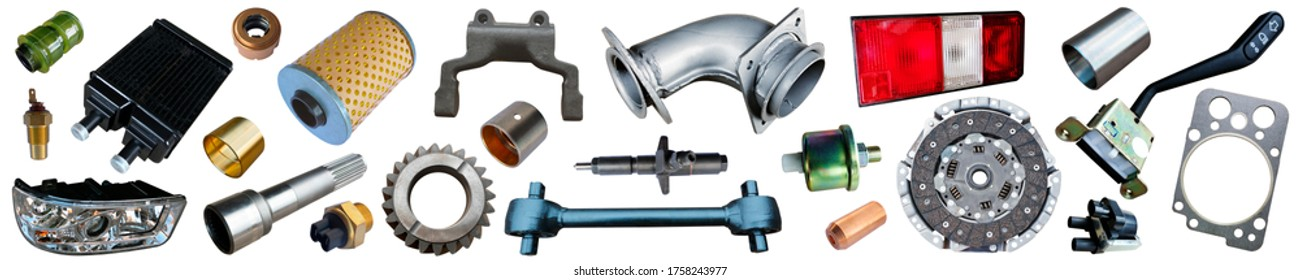 Big collection of auto spare parts for maintenance and car repair isolated on white background. Banner of car parts.