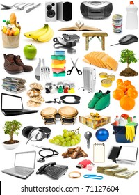 The big collection of different objects isolated on white background