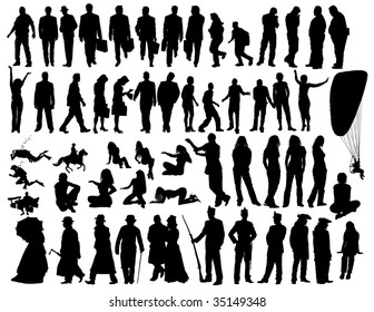Big collection of different people silhouettes. In my portfolio also available vector version of this picture.