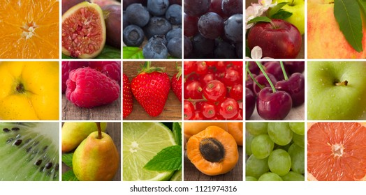 big collection of fruit, collage image