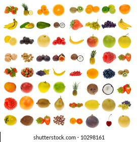 big collection of fruit and nuts, isolated on a white background, all pieces individually photographed in studio and no shade so its easy to select.