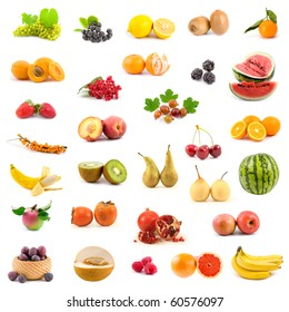 Big collection of fruits on a white background - Shutterstock ID 60576097