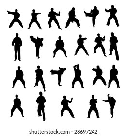 big collection of karate silhouettes