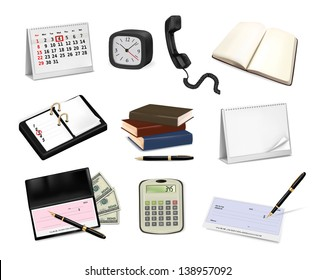 Big collection of office supplies, raster version.