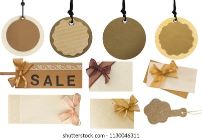 Big collection of price tags, labels and notes isolated on white background