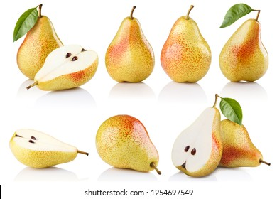 Big collection of ripe pears, isolated on white background