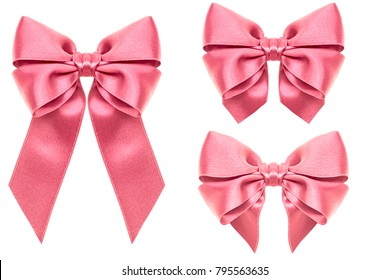 Big collection set of pink Shiny ribbon bows close up isolated on white background