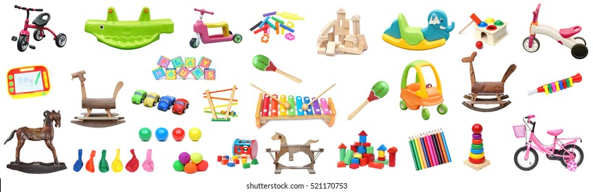 A big collection of toys for kids / Play time concept