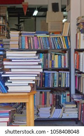 Big collection of used books in bookshop
