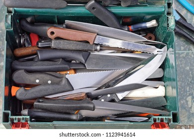 Big collection of various used kitchen knives