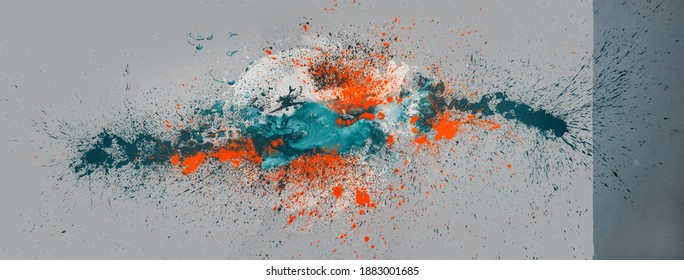 big colorful abstract orange, turquoise, white color spot on two tone gray background, multicolor paint splash in studio, leave an exciting pattern of woman bodypainting, copy space
