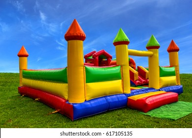 Big, colorful, inflatable castle labyrinth