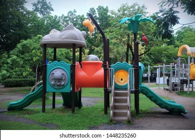 Big and colorful slide board at park/playground for kid to play with friends/family as outdoor activity. Playing is good for imagination and creativity both kid and adult. Happiness create endorphin