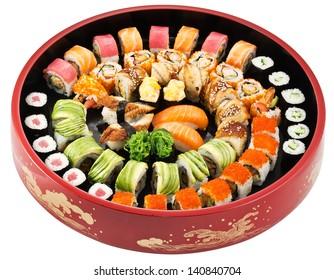 big colorful sushi set. isolated on white background