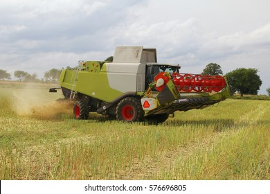 Big combine harvesting oilseed rape for bio fuel turning on headland, header lifted up, grinding of straw, dust in air, fertilized field with manure, hot sunny summer day, side perspective