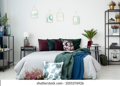 Big, comfortable bed with green and purple cushions, blankets, plants, bookcase, small posters and bedside tables in bedroom interior