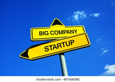Big Company or Startup - Traffic sign with two options - working for established corporation vs be employed in new and innovate small business. Stability and career vs interesting workplace