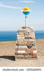 Big compass statue in nordkapp