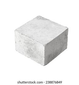 Big concrete construction block isolated on white background