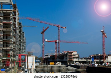Big construction site of appartment houses with cranes