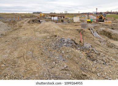 big construction site with lots of earth and loam