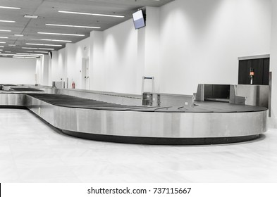 Big conveyor belt on airport, Space for text