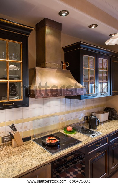Big Copper Range Hood Cooktop Black | Royalty-Free Stock Image
