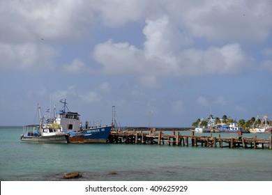BIG CORN ISLAND, NICARAGUA-JAN. 13: A commercial fishing boat is seen in harbor of Brig Bay in Big Corn Island, Nicaragua on January 13, 2015.