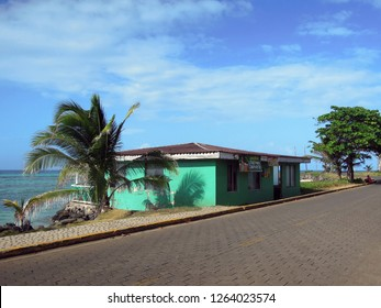 BIG CORN ISLAND, NICARAGUA-MAR. 17: A rum shop, restaurant in typical architecture on Caribbean Sea is seen in Big Corn Island, Nicaragua, Central America on March 17, 2018.