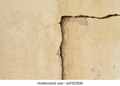 Big crack in old  concrete wall , selective focus.
