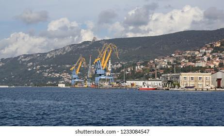 Big Cranes at Harbour Dock in Port of Trieste