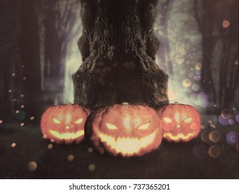 Big crooked spooky tree in the night forest with Halloween pumpkins.