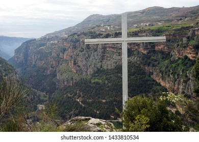 Big cross Quadisha valley in Lebanon