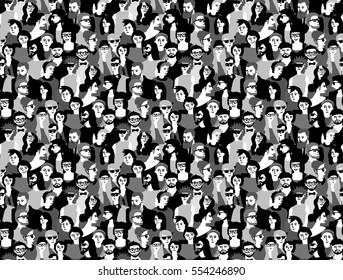 Big crowd happy people black and white seamless pattern. Monochrome illustration.